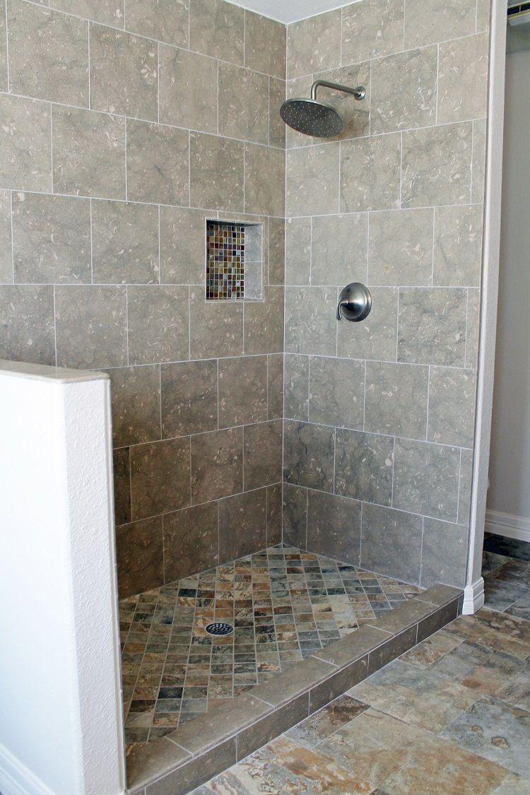 Open master bathroom shower design with graybrown wall tile and open master bathroom shower design with graybrown wall tile and earthy slate floor doublecrazyfo Choice Image