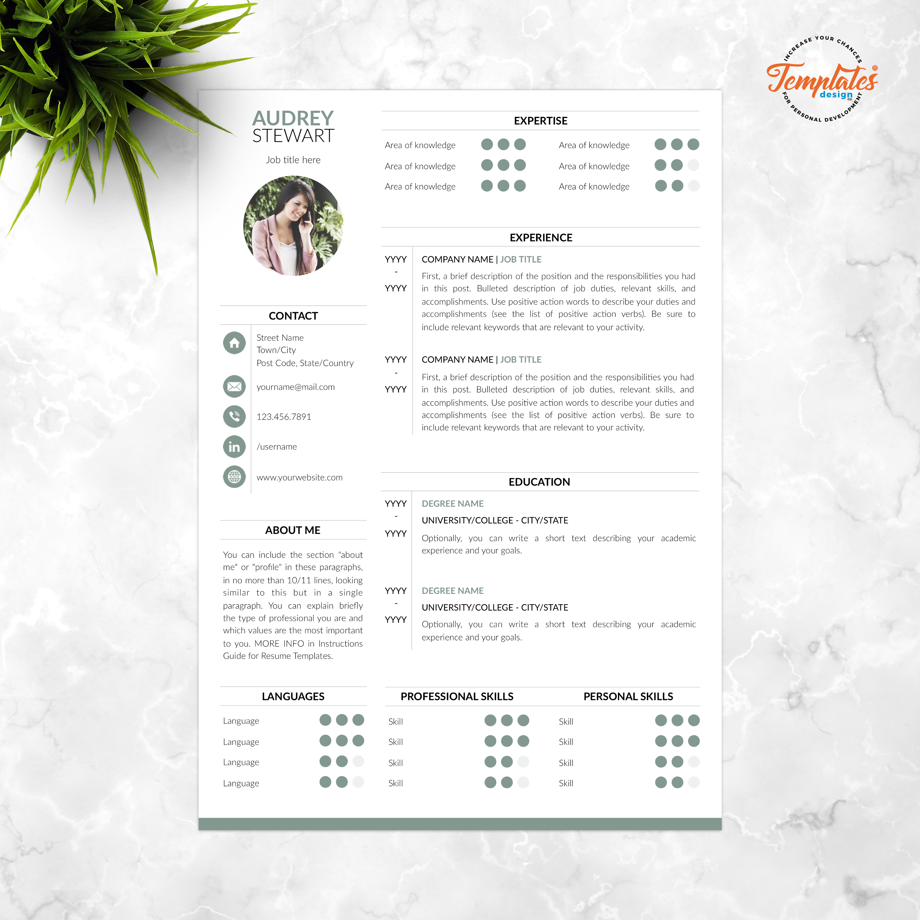 Modern Resume with Photo + Cover / Perfect CV for Word and