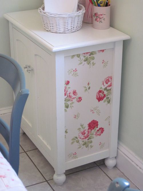 Why just paint it? Add a bit of decoupage and make it one of a kind. Love this idea to jazz up an old piece of furniture!