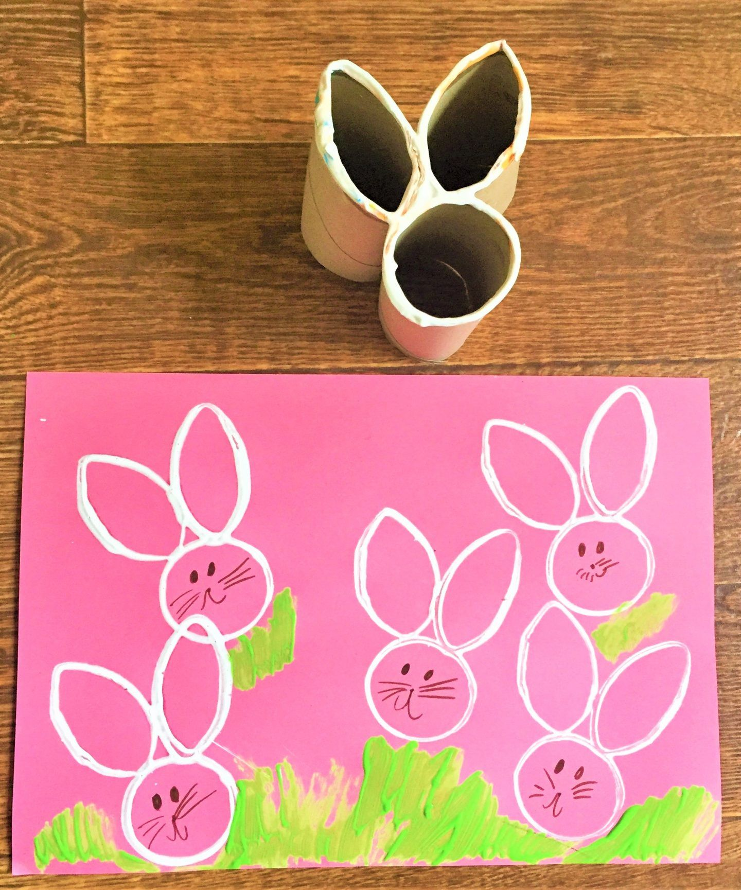 Easter Bunny Craft Homemade Toilet Roll Stamp Early Years