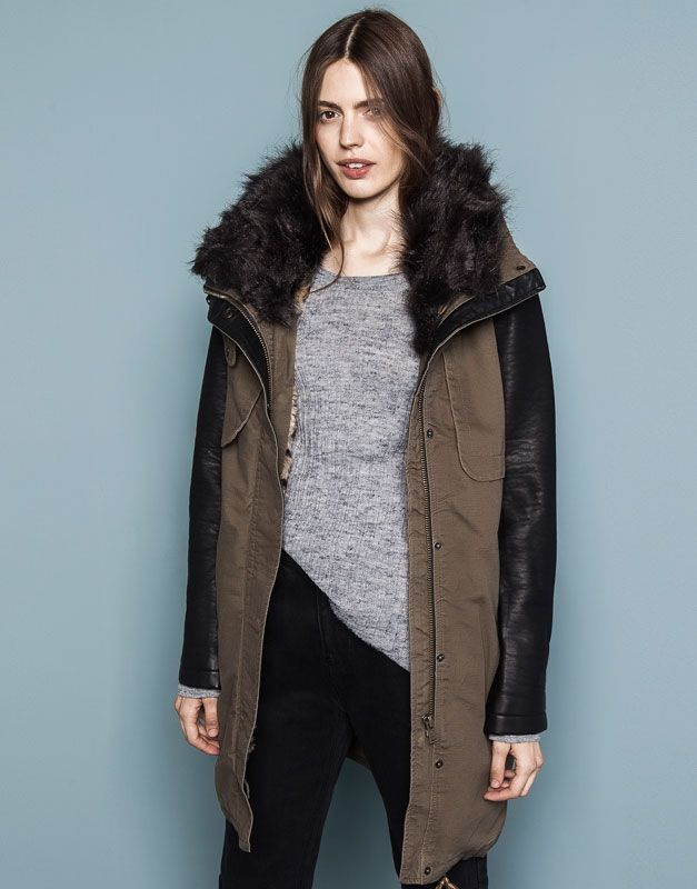 :PARKA WITH LEOPARD-PRINT LINING