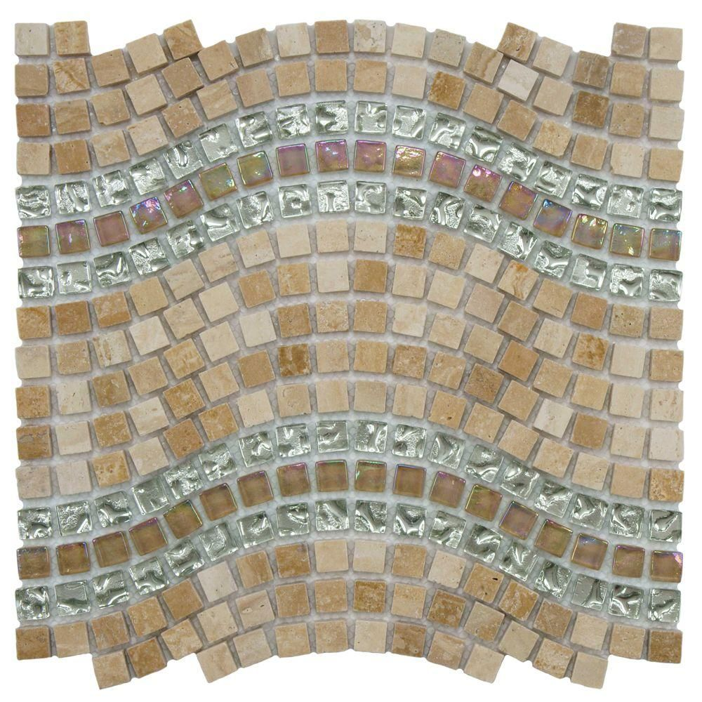 Merola Tile Tessera Wave Venus 11 3 4 In X 12 1 4 In X 8 Mm Glass And Stone Mosaic Tile Gsdtwvvn The Home Depot Metal Mosaic Tiles Stone Mosaic Wall Stone Mosaic Tile