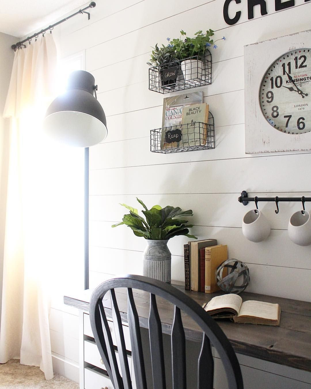White Shiplap Home Office Industrial Modern Farmhouse Office