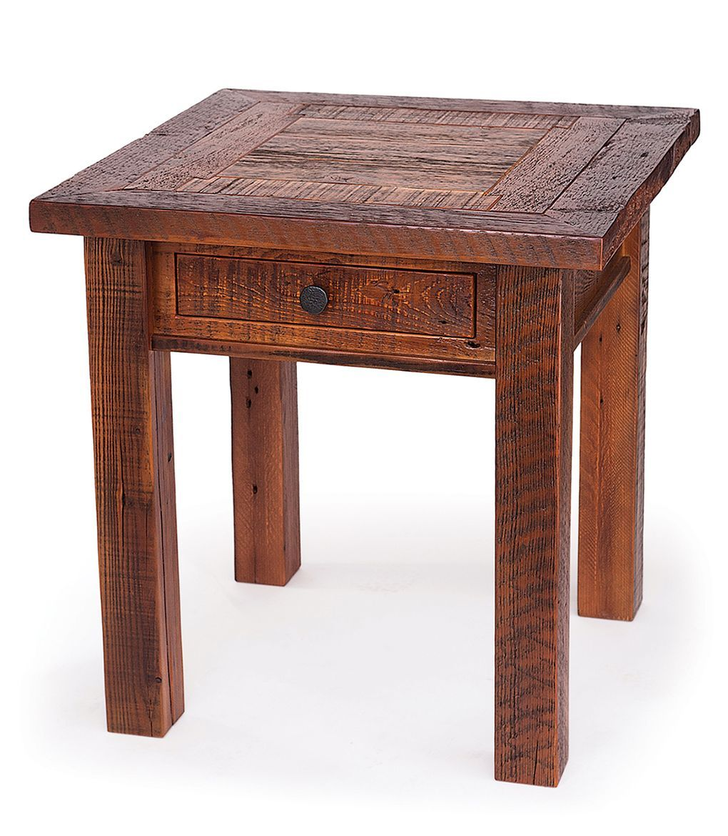 Reclaimed wood end table with drawer this