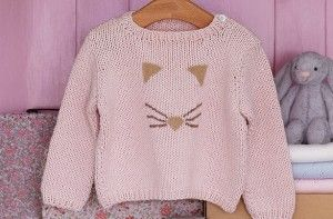 35452bc32 Free knitting patterns - Free knitting patterns UK  Knitted cat face baby  jumper - goodtoknow