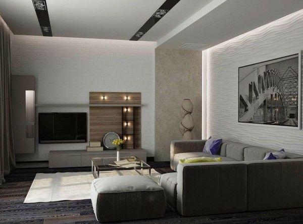 Petit salon moderne en gris et jeux de lumière