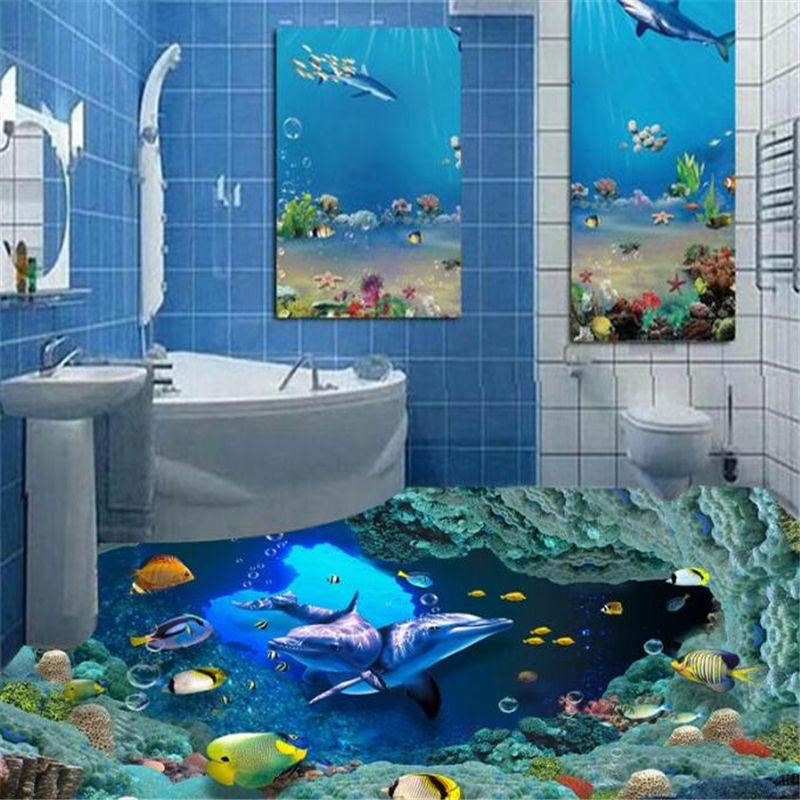 Beibehang Dream Wallpaper Underwater World Dolphin Bathroom Waterproof Self Adhesive Wallpaper Papel De Parede 3d Flooring Affiliate