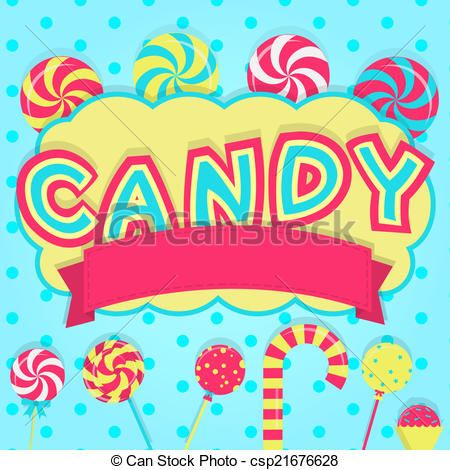 Vector Illustration of Word candy decorated - Word candy with ...