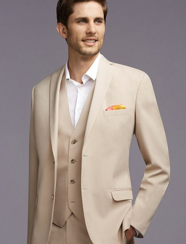 Pronto Uomo Vintage Two-Button Tan Notch Lapel Suit But with a tie ...