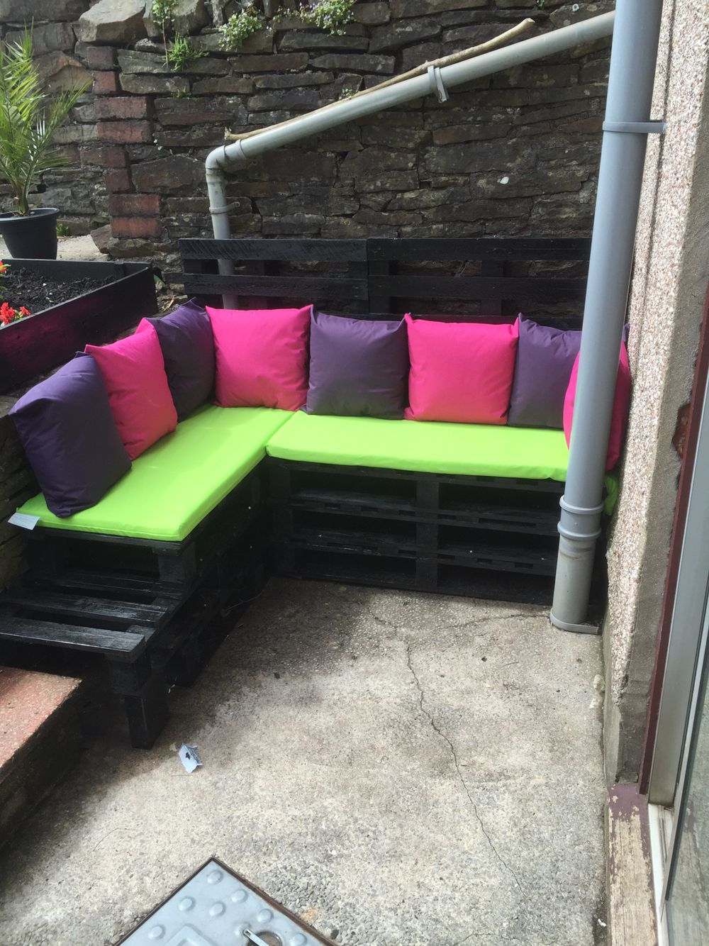 All Done Covered With Weather And Rain Proof Cushions Pallet Furniture Outdoor Sectional Sofa Outdoor Sectional