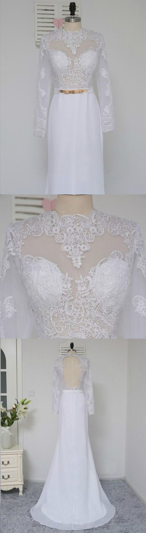 White prom dresses scoop short train appliques chiffon sexy prom