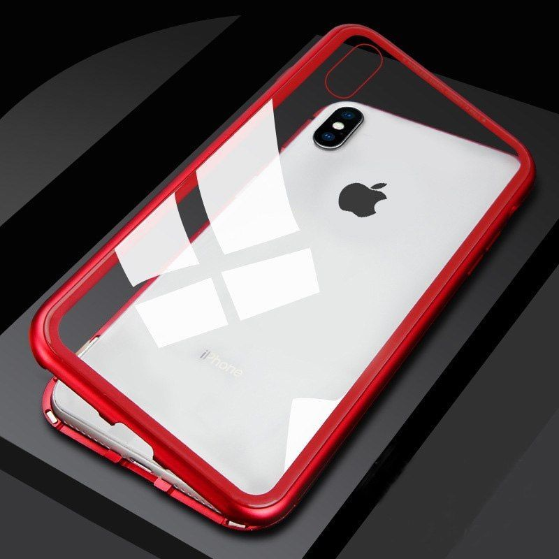 the best attitude 05704 f4453 360° Magnetic Adsorption Metal Case For iPhone XS MAX XR Tempered ...