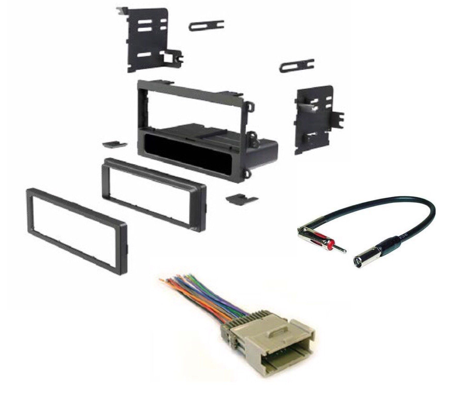medium resolution of asc single din car radio dash kit wire harness and antenna adapter for chevrolet 03 05 blazer s10 01 02 express 00 01 metro 98 04 tracker