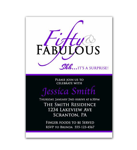 surprise 50th birthday invitation fifty and fabulous purple and black over the hill party invite printable - Surprise 50th Birthday Party Invitations