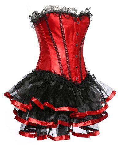strapless spliced laceup gothic corset dress  gothic