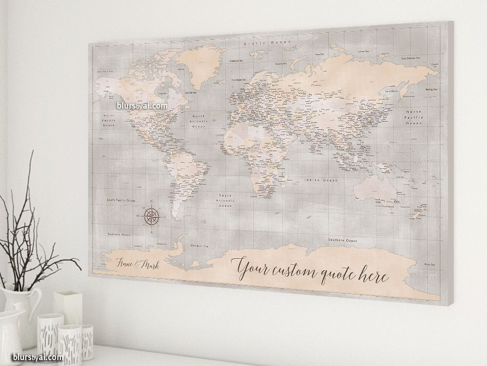 Custom quote world map canvas print rustic world map with cities custom quote world map canvas print rustic world map with cities and antarctica color gumiabroncs Gallery