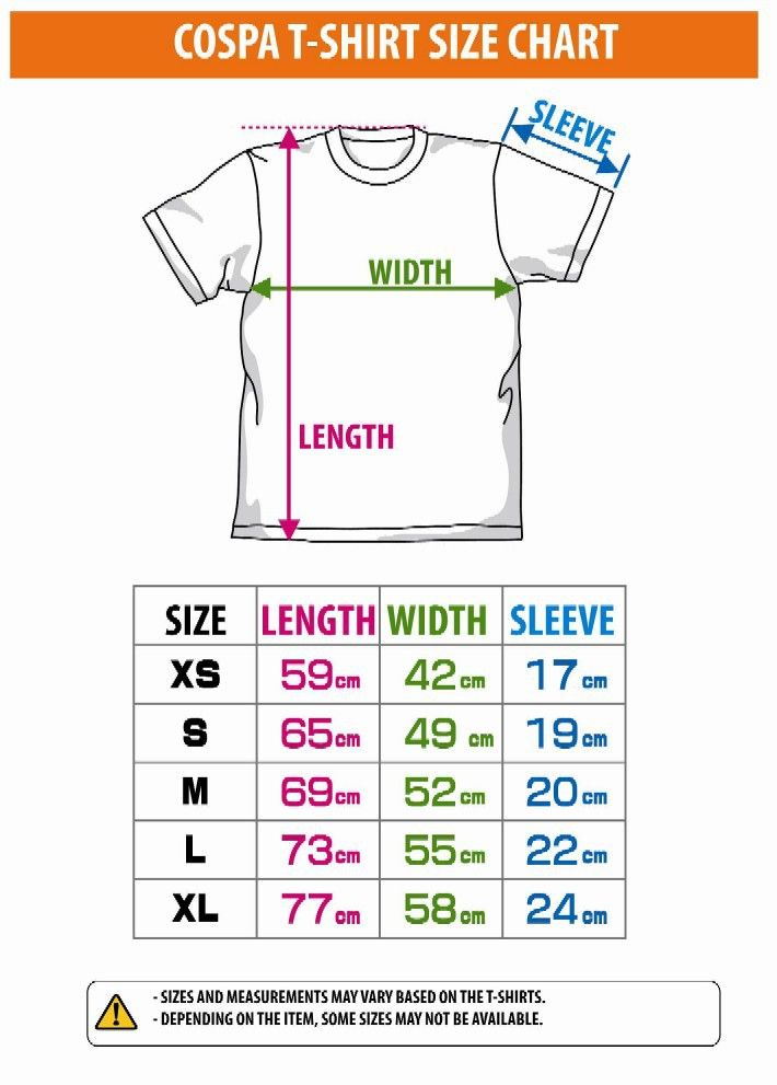 size chart Size Chart for COSPA T-Shirt PROMO!!! Pinterest