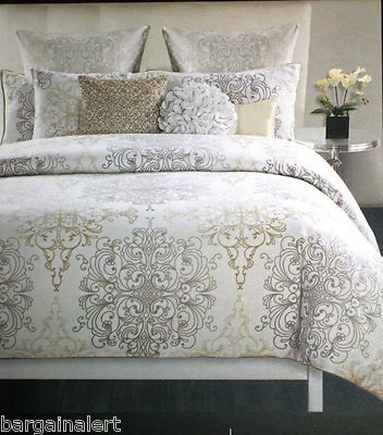 tahari medallion damask scroll king duvet cover 3pc gold silver beige white ryann 39 s room. Black Bedroom Furniture Sets. Home Design Ideas