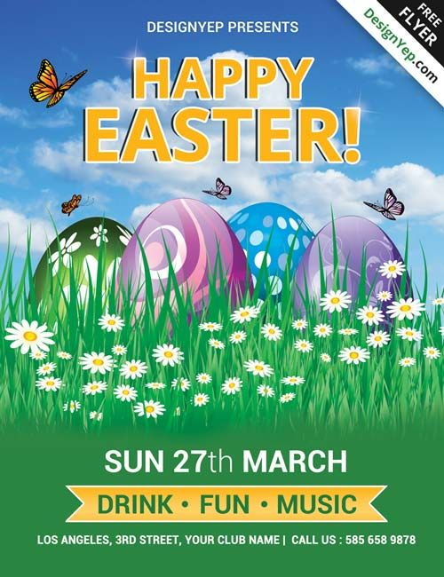 Happy Easter Party Free Psd Flyer Template  HttpFreepsdflyer