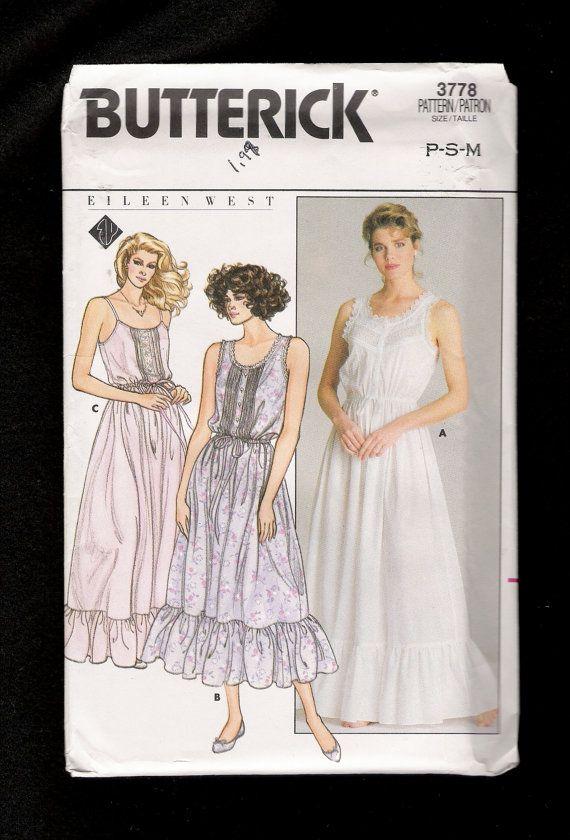 Vintage 1986 Butterick 3778 Eileen West Romantic Sleeveless ...