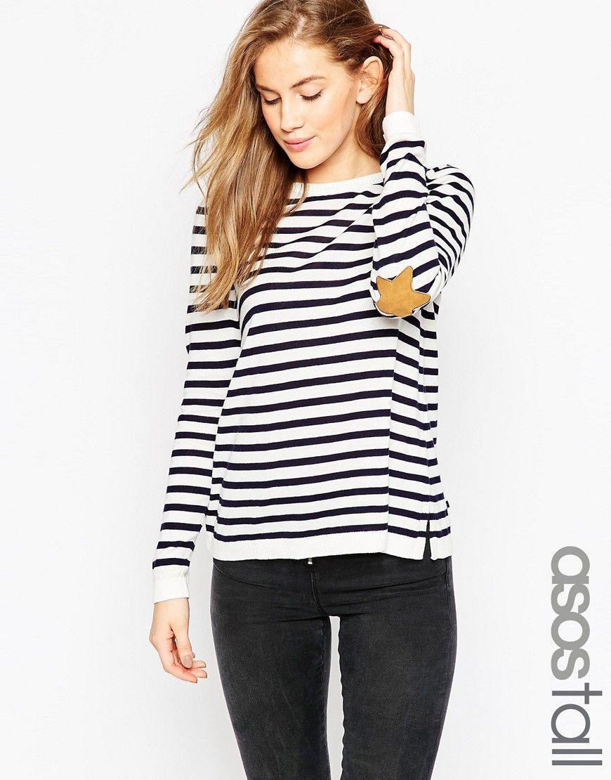 Image 1 of ASOS TALL Jumper in Stripe with Tan Suede Star Elbow Patches