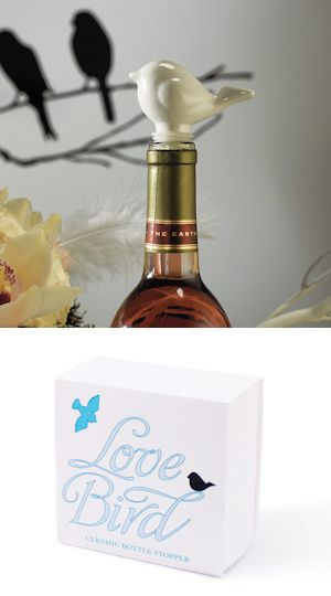Ceramic Love Bird Bottle Stoppers With Gift Packaging From Wedding Favors Unlimited