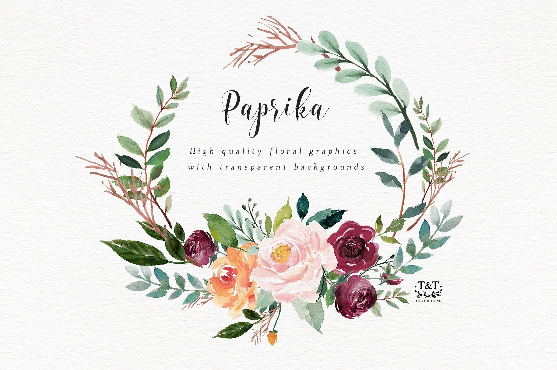 Watercolor Flower Clipart Paprika Flower Clipart Watercolor