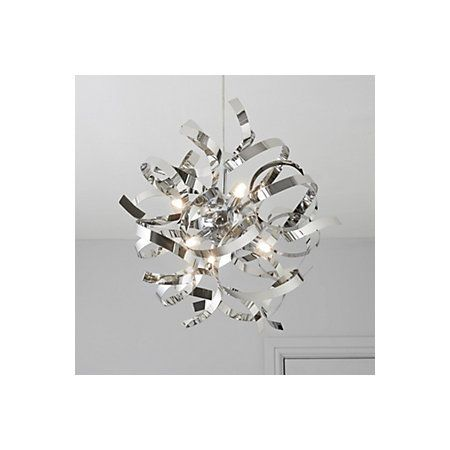 Heka curled silver chrome effect 6 lamp pendant ceiling light heka curled silver chrome effect 6 lamp pendant ceiling light departments diy at bq aloadofball Gallery
