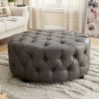 on sale afde8 d895e Found it at Wayfair - Bowie Leather Tufted Round Ottoman ...