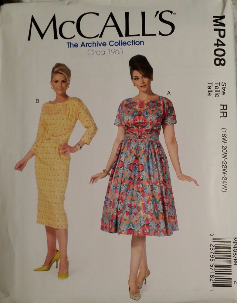 McCalls Pattern M7086 / MP408 sizes 18W-24W Ladies Dresses 2 styles ...