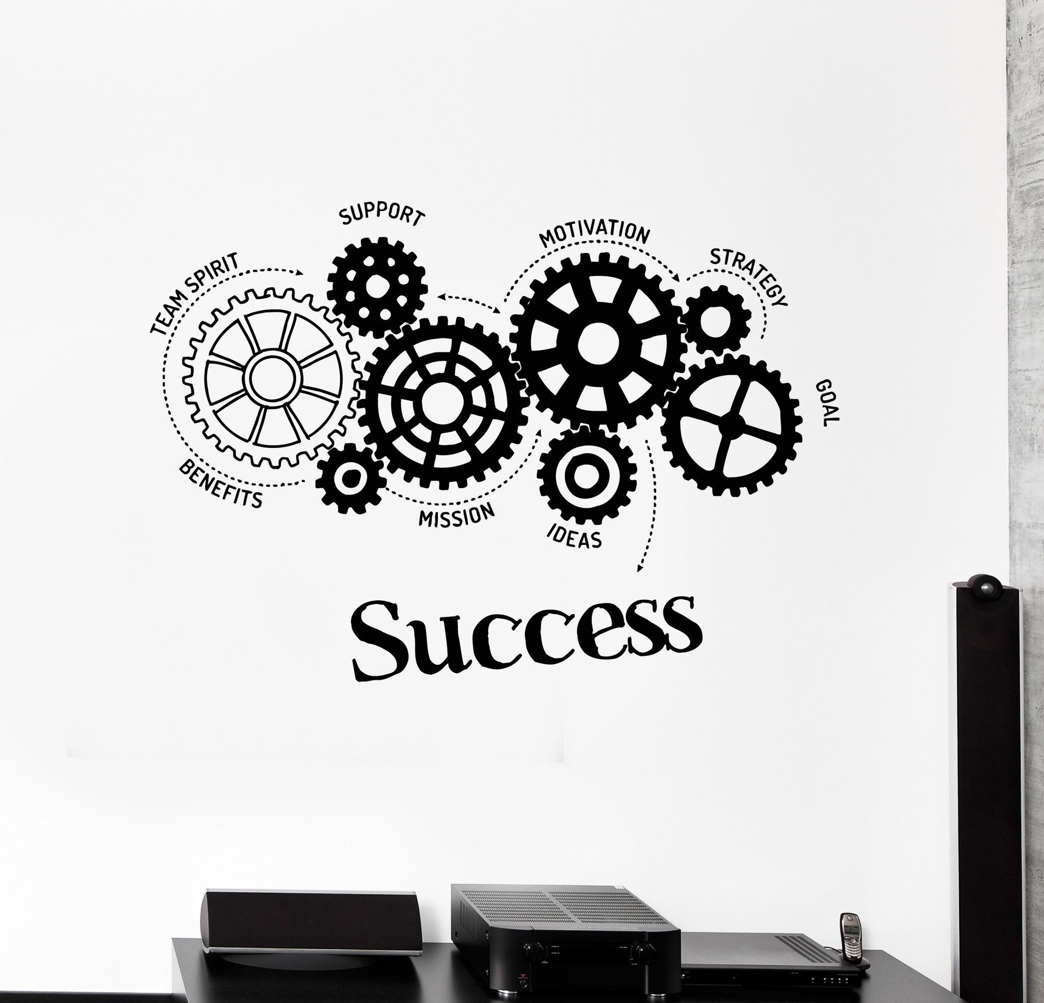 Vinyl Wall Decal Success Words Gears Office Motivation Stickers - Benefits of wall decals
