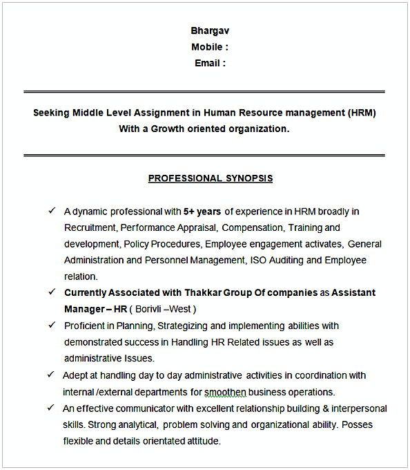 Assistant Manager HR Sample Resume , HR Manager Resume Sample , This