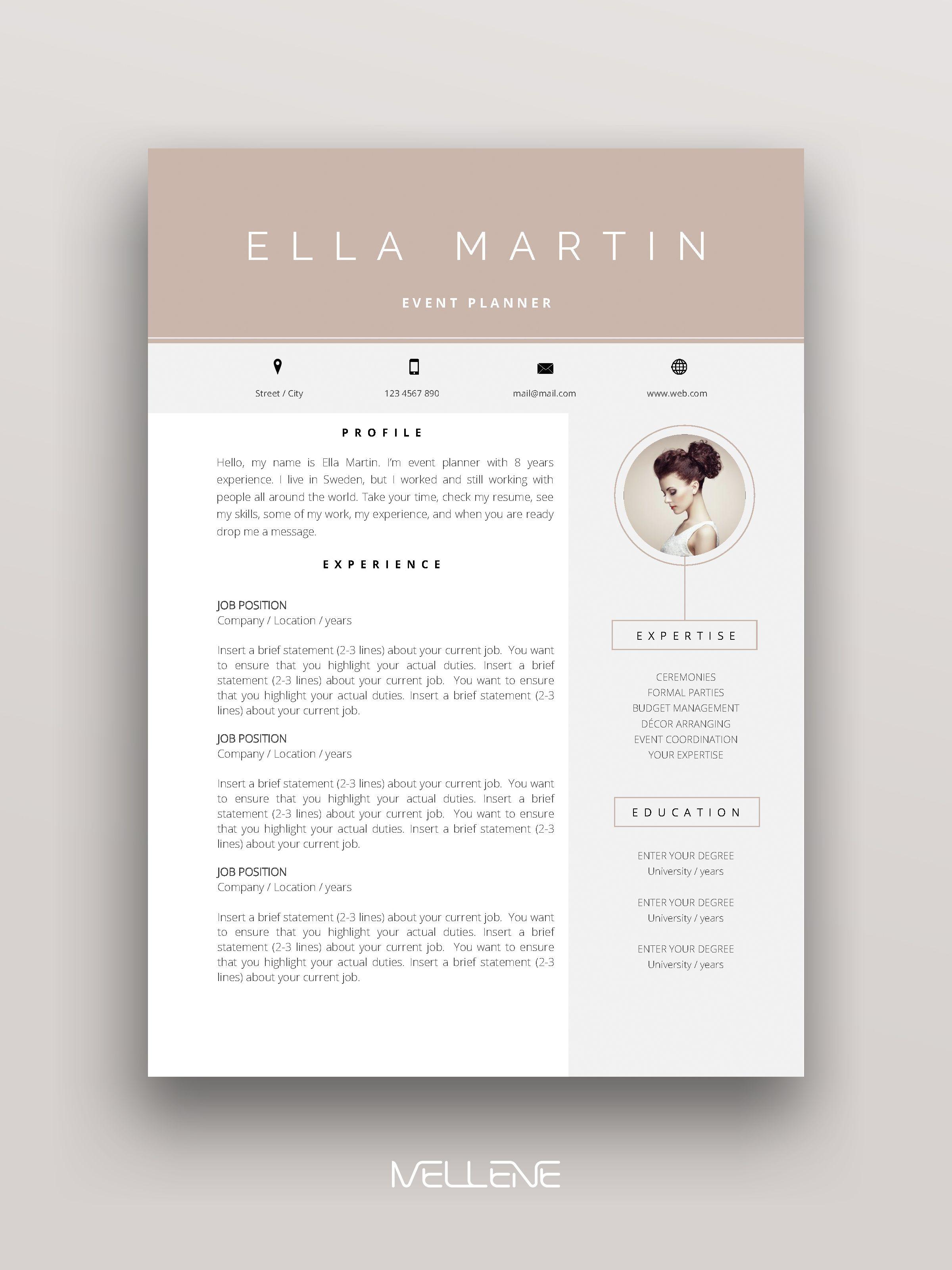 Resume Template 3 Page Cv Template Cover Letter Instant Etsy Graphic Design Resume Cv Design Resume Design Free
