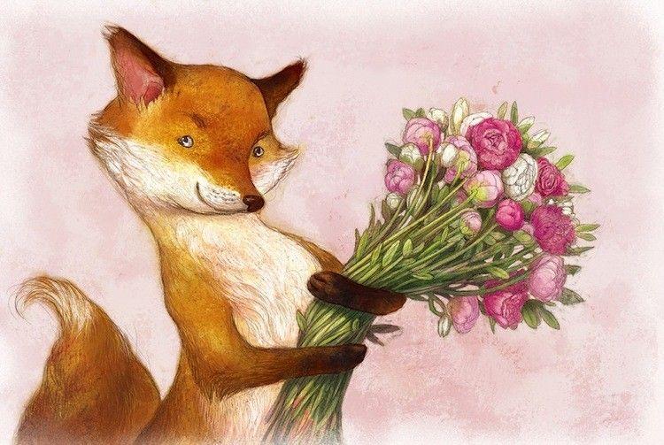 Поздравительная открытка на день матери лисенок с цветочком