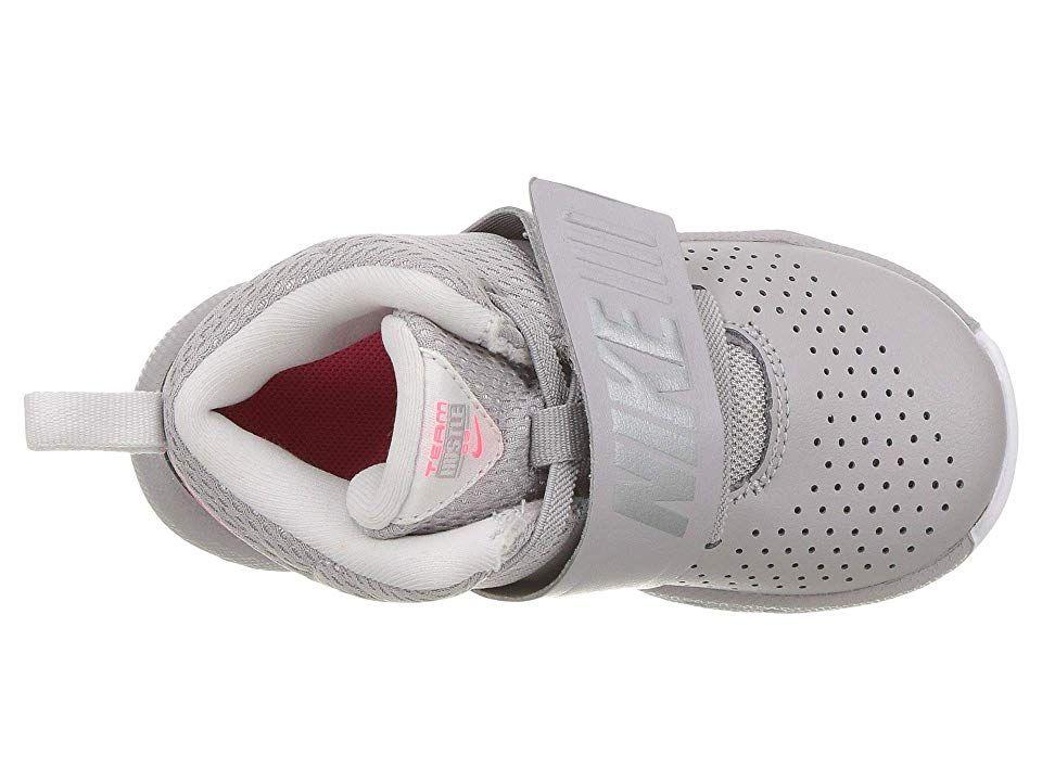f13094d5060 Nike Kids Team Hustle D8 (Infant Toddler) Girls Shoes Atmosphere Grey Racer  Pink Vast Grey