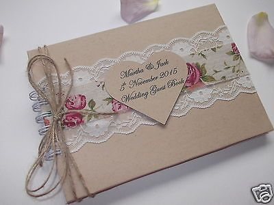 94286e4e469a NEW Vintage Wedding Guest Book Personalised SHABBY CHIC ~BOXED~ in Home