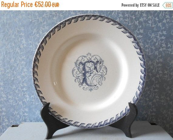 ON SALE French antique plate rare Luneville by Birdycoconut