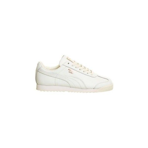 Roma Trainers by Puma ($80) ❤ liked on Polyvore featuring shoes, sneakers, white, leather upper shoes, white trainers, rose gold shoes, white shoes and white sneakers