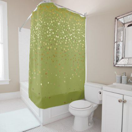 Golden Stars Shower Curtain In Olive Zazzle Com Green Shower