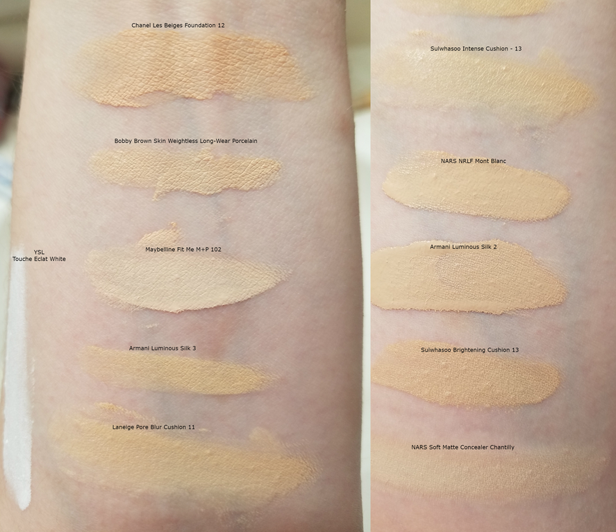 A Bunch Of Foundation And Cushion Swatches Feat Armani Sulwhasoo