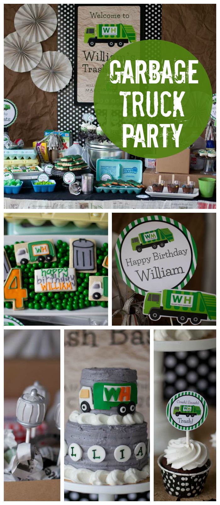 A Garbage Truck Boy Birthday Party With Junk Yard Juice And Building Trash Tower