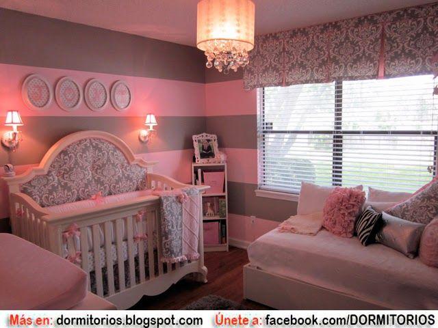 Dormitorios para ni as en tonos rosa con gris dise o for Decoracion habitacion nina gris y rosa