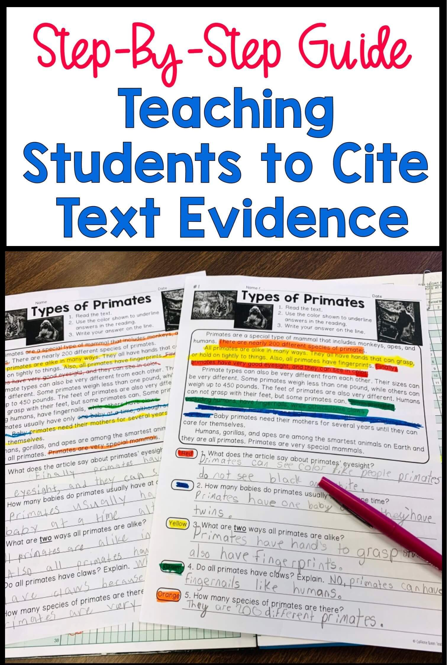 How To Teach Students To Cite Text Evidence