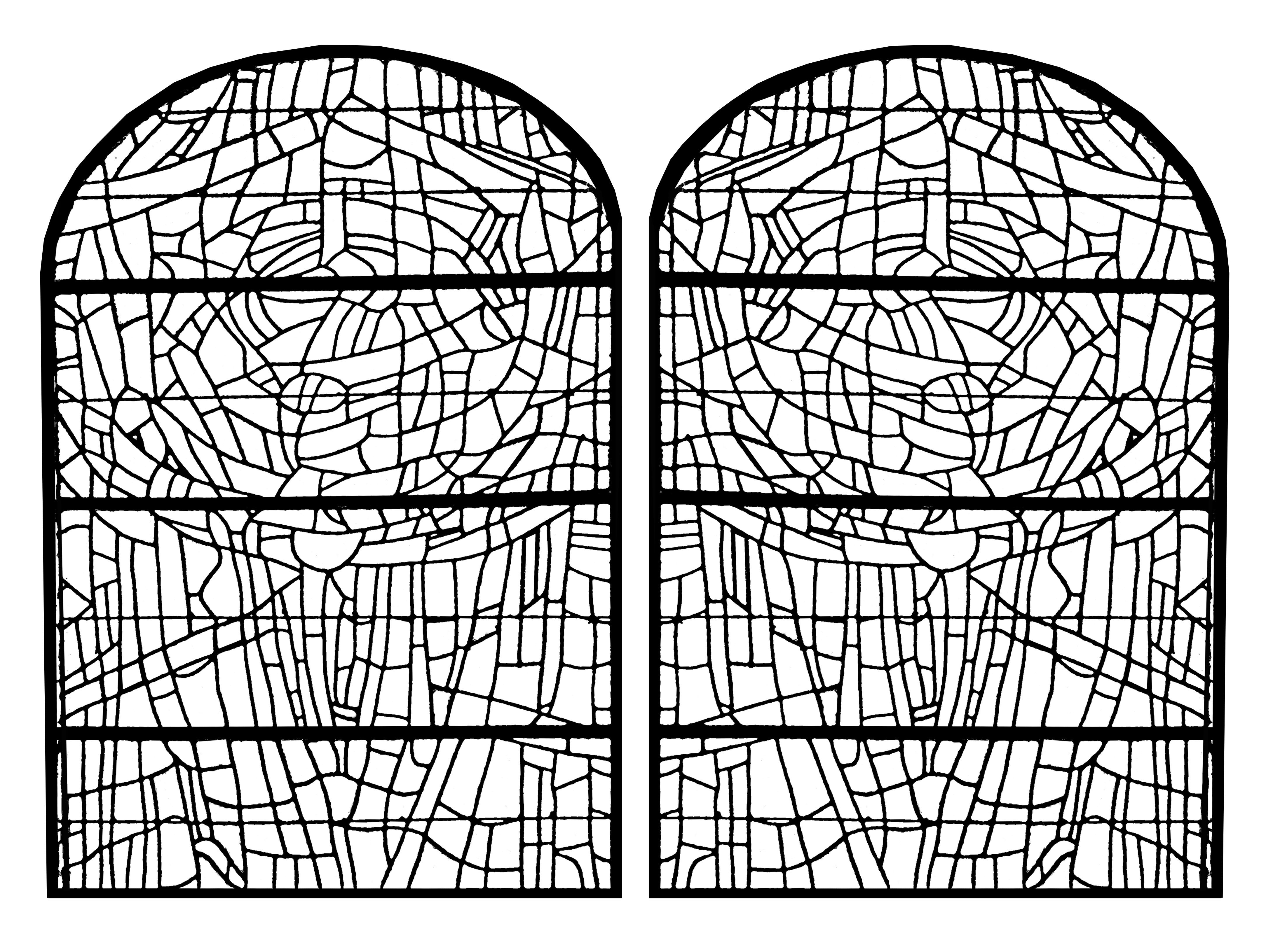 Coloring Page Made From A Modern Stained Glass Church
