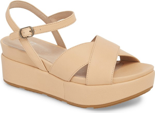 9e8d4a337bad Eileen Fisher Juno Platform Sandal in Beige. A chunky platform adds to the  throwback style of a chic leather sandal fitted with a cushy