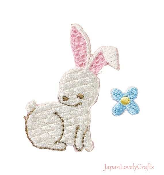 Natural Rabbit//Bunny Iron-On Applique//Embroidered Patch