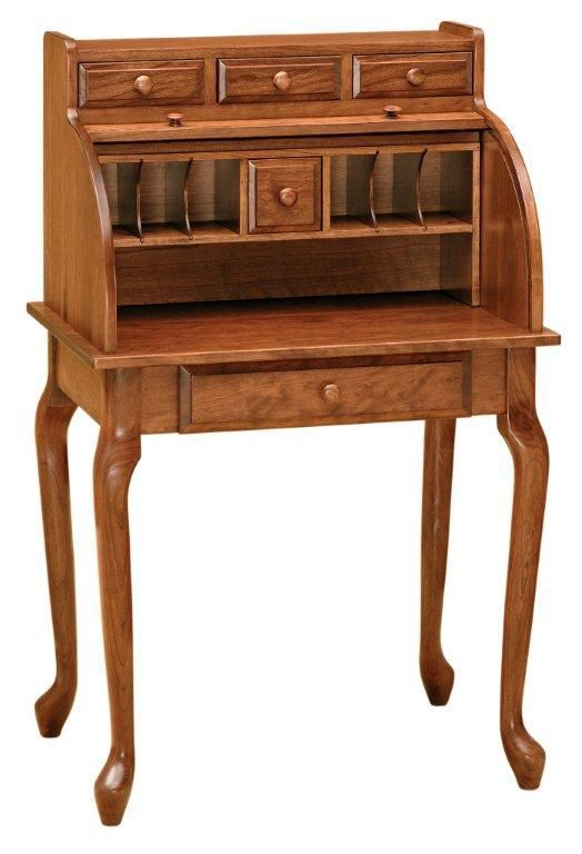 Amish Queen Anne Secretary Roll Top Desk Roll Top Desk Furniture Secretary Desks