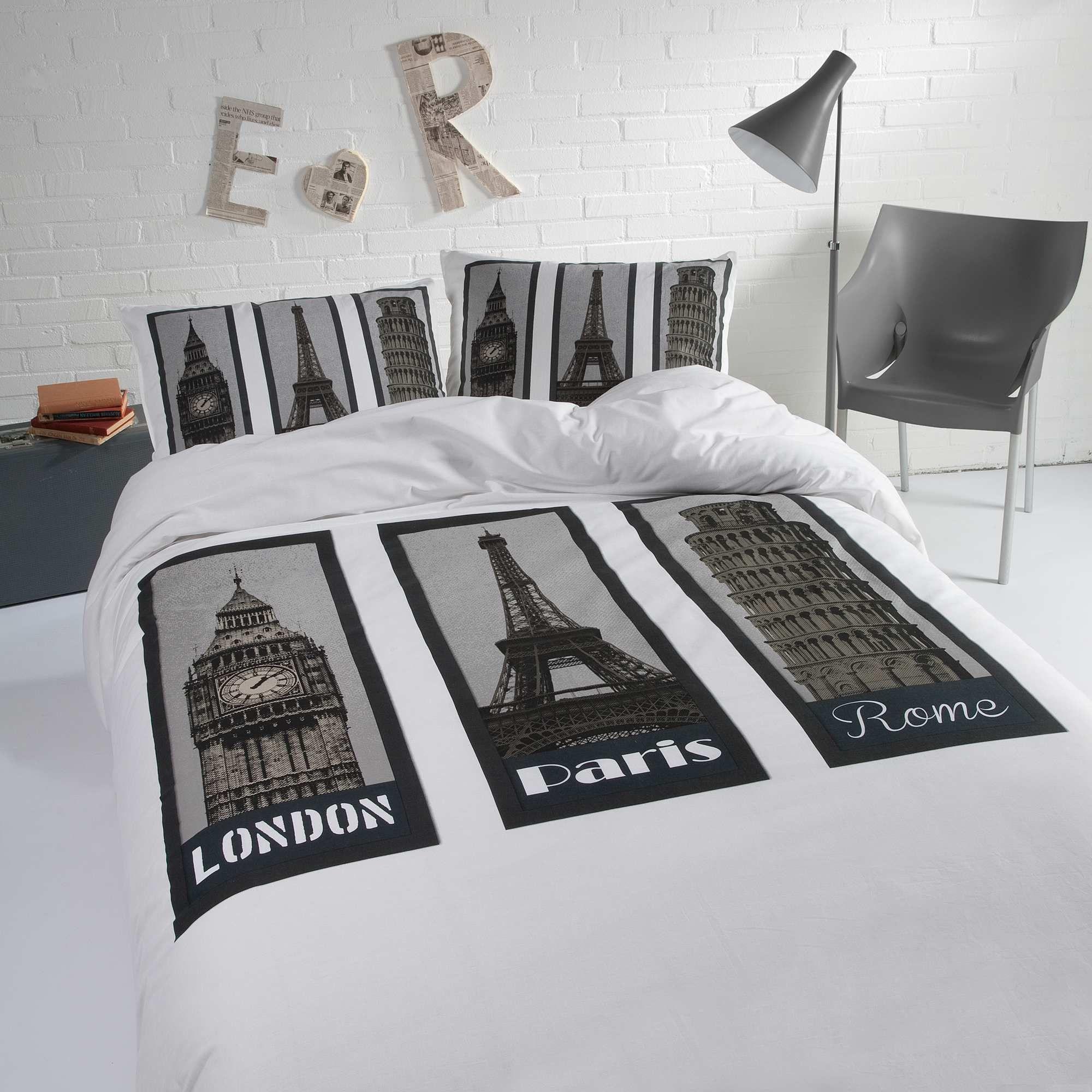 Parure De Lit Imprim E Paris Londres Rome Blanc Linge De Lit Plus