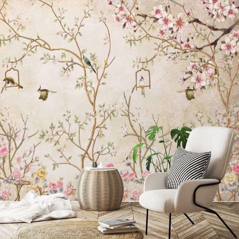 Chinoiserie Wallpaper Birds Wall Mural Peel And Stick Mural Etsy In 2021 Chinoiserie Wallpaper Traditional Wallpaper Wall Murals