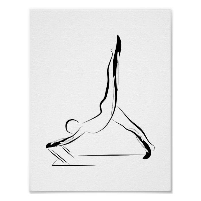 Arabesque Reformer Pilates Pose Pilates Reformer Poster | Zazzle.com